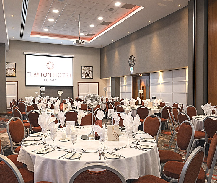 Olympic Suite **Hire the Olympic Suite at Clayton Hotel Belfast for a state-of-the-art venue hire in Belfast.**  For larger meeting requirements, the Olympic Suite located on the ground floor is ideal and can accom