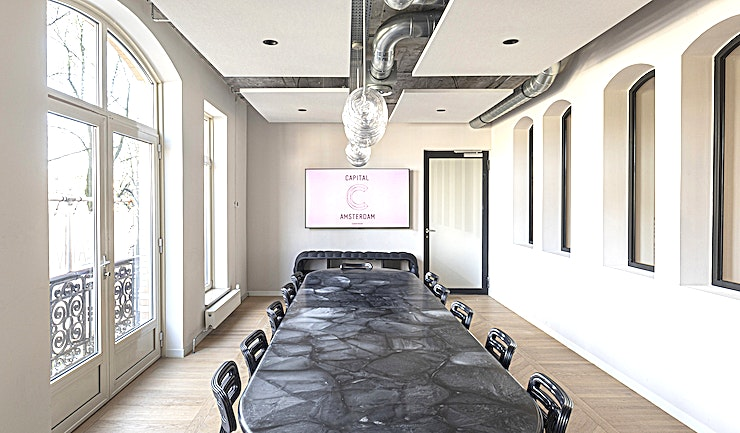 The Modern Fossil **Looking for the next space for your meeting, brainstorm or board meeting?**  Dirk van der Kooij's signature room is an ode to the end of an era of CDs and records. The room's centerpieces are two co