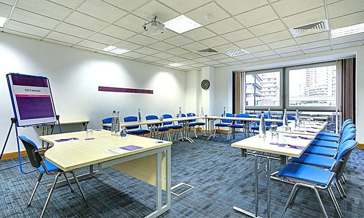 Electra Recently refurbished, CCT Venues-Barbican offers a professional environment in a superbly convenient City location. The venue occupies the whole of Aldersgate House, on the corner of Aldersgate Street and Long Lane, in London EC1. The 22 training and meeting rooms are arranged over five floors and offer a range of bright, airy Spaces, with large windows and individually controlled air conditioning.  CCT Venues-Barbican has a great mix of room sizes, with capacity for groups of 4 to 150. The venue has a strong reputation for superb service and expert management of training events. In addition to great rooms, the venue also has a modern top floor Sun Restaurant, with capacity for over 140 and offering a range of freshly prepared food from our in-house chefs. All other floors have refreshment areas with tea and coffee facilities.  All rooms are well equipped with modern furniture, quality audiovisual equipment and powerful data links. Events are supported by our first class, highly experienced team who put warm, professional service central to everything.   You'll find the venue directly next to Barbican underground station and only a few minutes' walk from CCT Venues-Smithfield. City Thameslink mainline, Farringdon, St Paul's and Moorgate tube stations are also just a short walk away.   CCT Venues also have locations in Canary Wharf, offering great choice across London's busiest business districts.