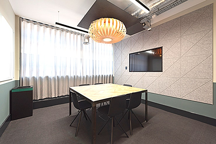 Suede Suede at The Leather Market is a 6 person Meeting room in Bermondsey,  This flexible boardroom, with top of the range tech and natural light, is ideal for game-changing meetings.
