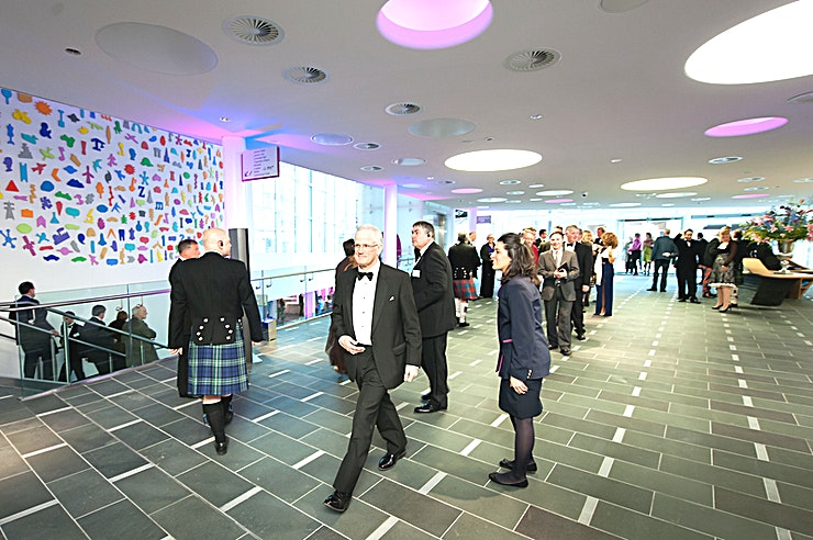 Atrium The contemporary glass Atrium provides a light and spacious welcome and registration area, as well as access to the Lennox Suite. The Atrium can be used on its own or together with the Strathblane Hall.
