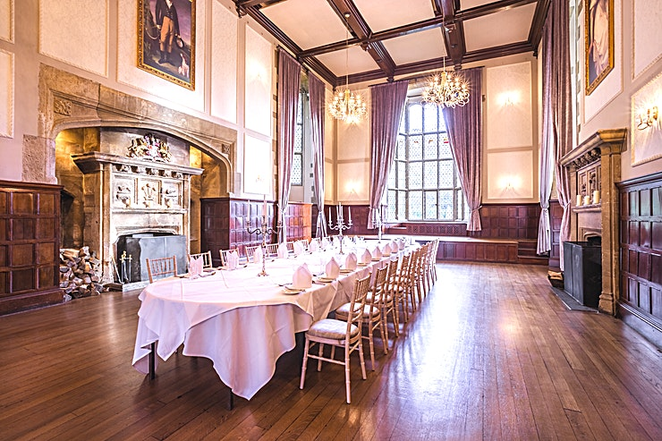 The Great Hall **The magnificent Great Hall, with it's feature stone fire places, high ceiling and Minstrel's Gallery, is perfect got a medieval-themed banquet or contemporary gala reception.**  Situated in the Old Hall which dates back to 1693 the room benefits from the Baronial Bar and Lounge area and a private garden for pre dinner drinks or barbeques.