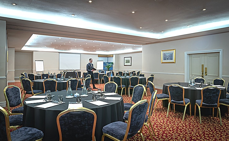 Elm & Oak Suite **Ballsbridge Hotels 2nd largest meeting space is 201 sqm and can be split in 2. It has a small private balcony.**  Ballsbridge Hotel offers 12 spacious and flexible meeting rooms in different sizes. Their multipurpose conference centre and ballroom is spacious, versatile and can be divided into three sections depending on your requirements.  Key Features: - LCD projector and screen - Complimentary WiFi for all delegates - Delegate stationary and table refreshments - Dedicated Conference and Events team - Air conditioning - Natural daylight  Please note that this room is located on our second floor and is not wheelchair accessible.