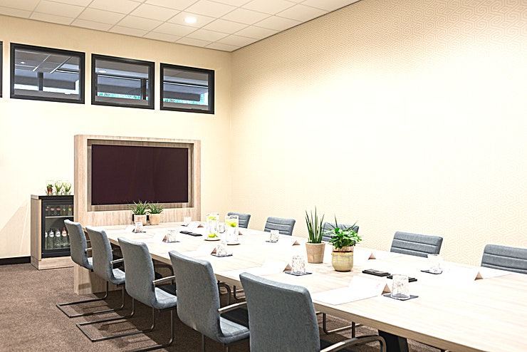 Bavinck 1 A spacious and professional boardroom with comfortable chairs. A ceiling height of 4,5 meters. Modern facilities and equipment and a dedicated team to help you organize the best meetings!