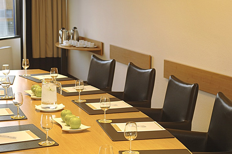 Boardroom 5 ** The Boardroom 5 room is perfect for small meetings up to 10 persons. We have 7 boardrooms in total.**  The surface of this space is 34m2. The room is equipped with free Wi-Fi, disable access and na