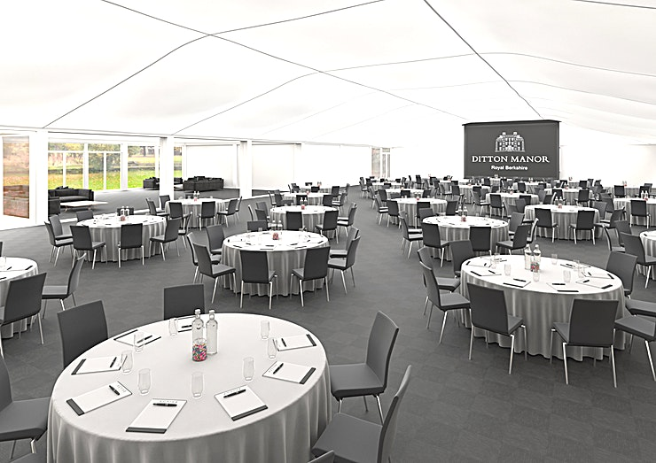 Garden Marquee, Ditton Manor  **Set within 55 acres of beautiful grounds the 900sqm permeant, Garden Marquee is able to accommodate 800 people in a banquet layout and 1050 in a theatre layout.**  The entrance lobby is perfect as a