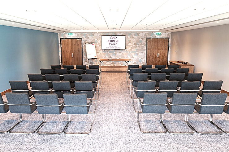 Rocket Meeting Room Whether you are travelling to Newcastle for business or pleasure, there are an excellent range of facilities at Crowne Plaza Newcastle! The hotel is located in the heart of Newcastle city centre and boasts 251 bedrooms, including accessible and family rooms, and nine purpose-built meeting rooms.  The hotel is conveniently located close to local attractions including The Utilia Arena, Newcastle United Football Club, Life Science Centre, Sage Gateshead, Newcastle University and Northumbria University. Newcastle City Centre and Gateshead Quayside are also just a five-minute walk from the hotel.  There is also the luxurious Mineral House Spa which includes a spa, gym, indoor heated swimming pool and beauty treatments. The Hawthorns Restaurant offers contemporary local cuisine, and The Gin Bar offers premium gins and authentically produced gin cocktails.  The hotel is adjacent to the Stephenson Quarter multi-storey car park which has onsite coach parking facilities and is easily reached via the A1 M. The hotel is also just a two-minute walk from Newcastle Central Station.