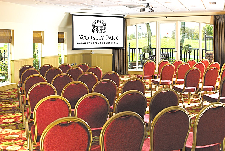 The Terrace Meeting Space Worsley Park Marriott Hotel & Country Club delivers the very best of both worlds - a tranquil escape amidst 200 acres of stunning scenery, as well as easy access to Manchester city centre, just a short drive away.  The Terrace Meeting Space includes natural lighting which beams from two sides of this meeting room with views of the Country Club's 18th green. This is the ideal Space for networking, conference, meetings or celebrations.