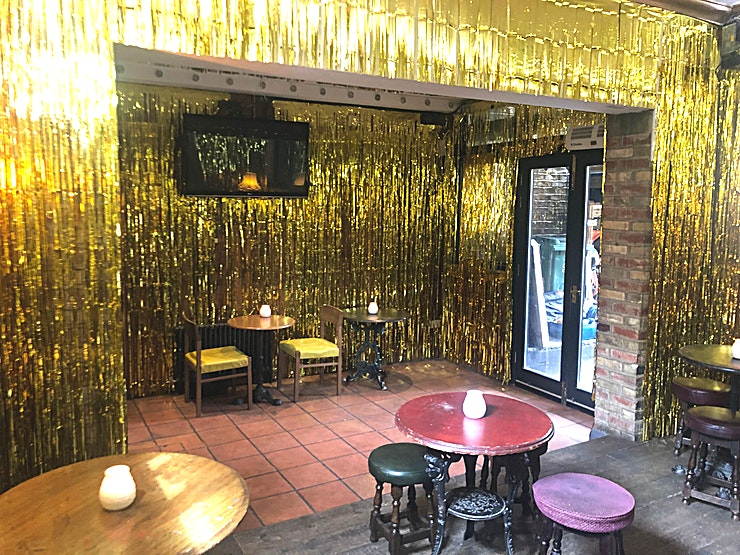 Private Room A versatile space with a TV as well tables that can be added or removed with the option to play your own music too. A great spot for smaller parties of up to 50.