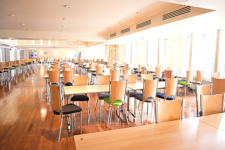Devonshire House - The Terrace The Great Hall, within Devonshire House, is the largest of the University's venues, seating up to 1,435 delegates theatre style. Containing movable seating within the auditorium and fixed tiered seati