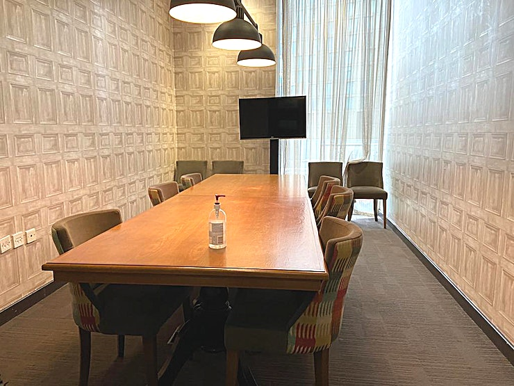 The Board room  Luxe boardroom with ambient downlighting; ideal for an investor pitch, key client meeting or directors' conference. Also available for private dining up to 10