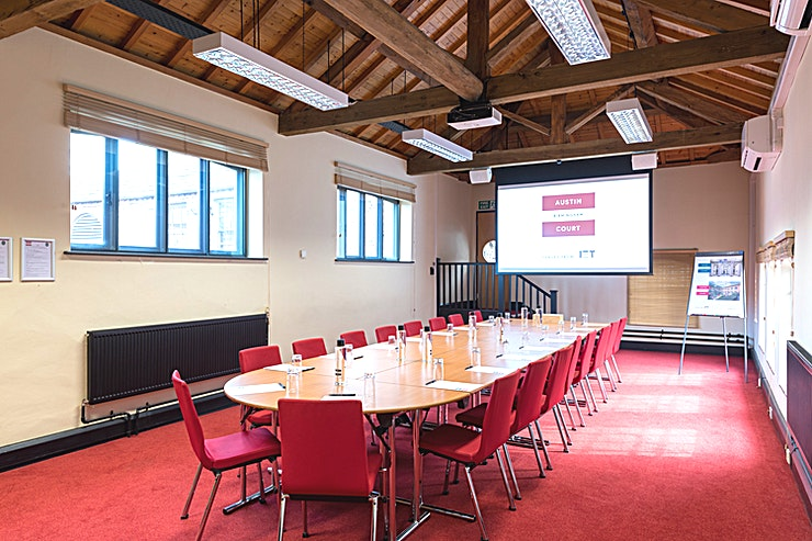 Crompton Room Hire the Crompton Room at IET Austin Court for one of the best options for meeting room hire Birmingham has to offer.  An attractive venue with period features. Overlooking our landscaped Courtyard, the Crompton Room is an inspiring venue, featuring original oak beams, high ceilings and attractive casement windows that let the natural daylight flood in. In spite of the impressive period features, the Crompton Room is fitted with the latest audio-visual technology and WiFi for the most professional results. Whatever your event, the space can be adapted accordingly and accommodates up to 60 Guests. Whether you need a boardroom, training room or theatre, we can arrange the chairs in rows or u-shape or layouts to suit your requirements.   With plenty of natural daylight, this room is also ideal as a display area or exhibition Space. There are a range of DDR options available ranging from £39.95 - £44.95 pp with a minimum of ten people needed for this Space. If you would like to hire out in the evening from 18.00-21.30 there is a charge of £416 + VAT. Please note hourly hire is NOT possible.