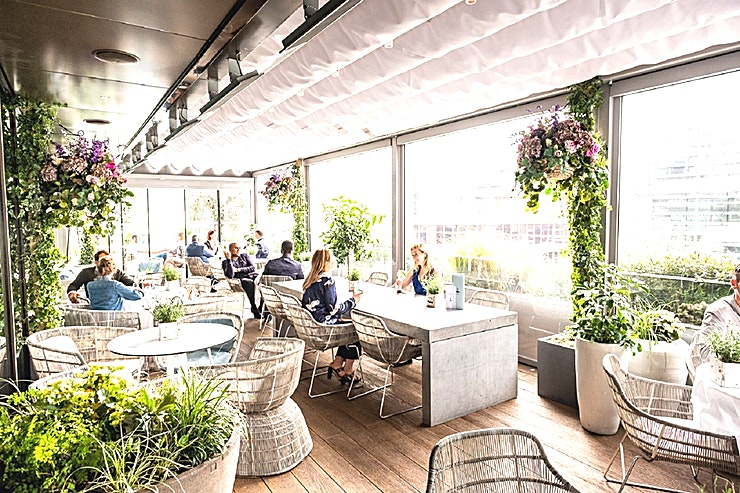 Terrace **The Terrace is a stunning Space for hire at Angler in the City of London.**  Located on the 7th floor of South Place Hotel, adjacent to its Michelin-starred restaurant, the Angler Terrace is a hidden gem in the City and brings a little piece or the Provence to the heart of London.   With its retractable roof, the Terrace can be used for events all year round.  The terrace accommodates up to 70 guests standing, making it the ideal spot for a drinks reception – serving Executive Chef, Gary Foulkes' menu of delectable canapés or snacks.