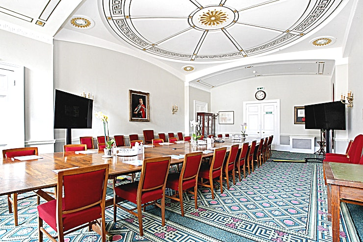 Council Room **The Council Room at SCI Belgravia is a multi-purpose event Space for hire in London.**  The Council Room is a beautifully presented, large historic room located on the ground floor of our Grade 1 listed building with direct access to a private outdoor terrace.  For more information please visit our website www.soci.org/venue-hire