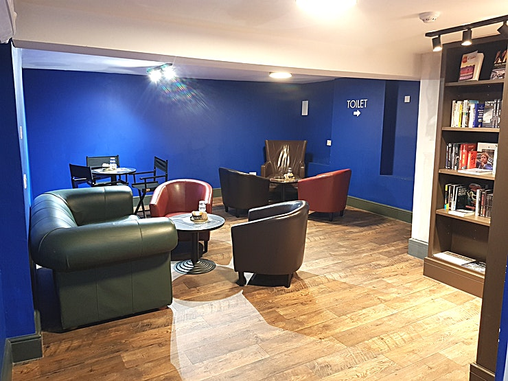 The Blue Room **The Blue Room is a cosy and inspiring Space within Ripley and Lambert, an independent specialist film bookshop and cafe in Dalston, East London.**    The 3 tables and accompanying seating for up t