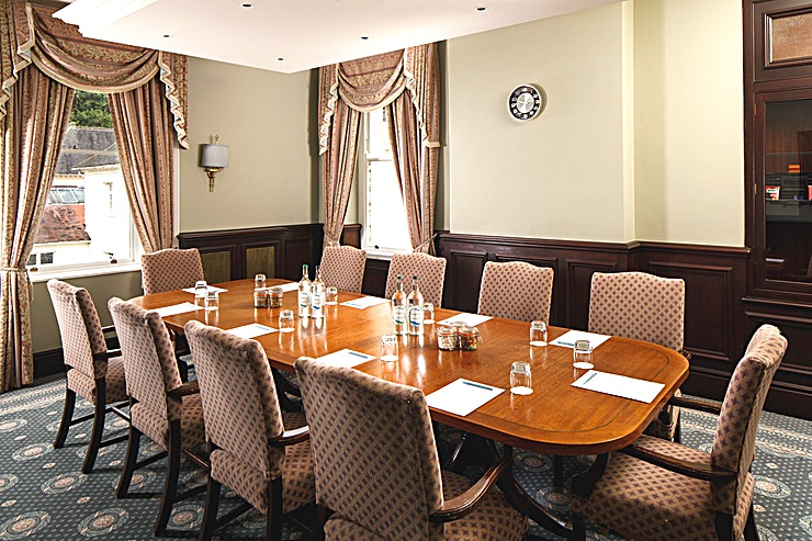 The Boardroom **The Boardroom at Mercure Gloucester Bowden Hall Hotel is a stylish meeting room for hire in Gloucester.**  The Space holds up to 12 guests and is available to use for private dining and has free p