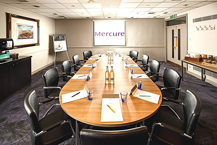 Ambassador Suite **The Ambassador Suite at Mercure Inverness Hotel is a stylish event Space for hire in Inverness.**  The Ambassador Suite, located on the lower ground floor, is the ideal room to host a small meeting or private dinner.