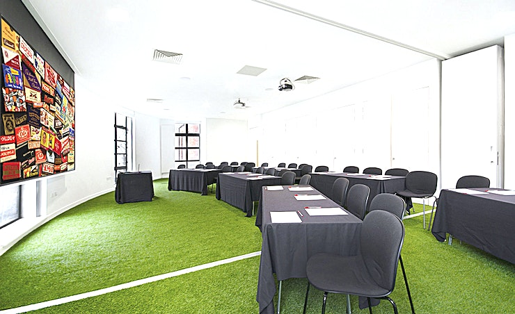 Conference Room **The Conference Room at the Museum of Brands is an ideal event Space for hire for meetings, conferences, product launches and training days.**  This is a relaxed and stimulating Space with indoor grass, huge windows and its own balcony. The room can be set as a boardroom, cabaret or theatre style. Access to a private catering and breakout Space is also included.