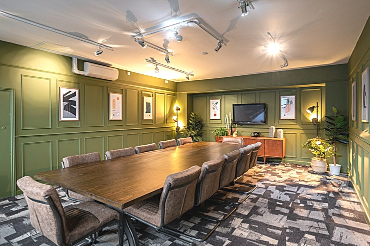 Social Boardroom **The Social Boardroom at Fazeley Studios is a stylish meeting room for hire in Birmingham.**  A stylish boardroom next to the fantastic The Social at Fazeley bistro, serving delicious food and hot