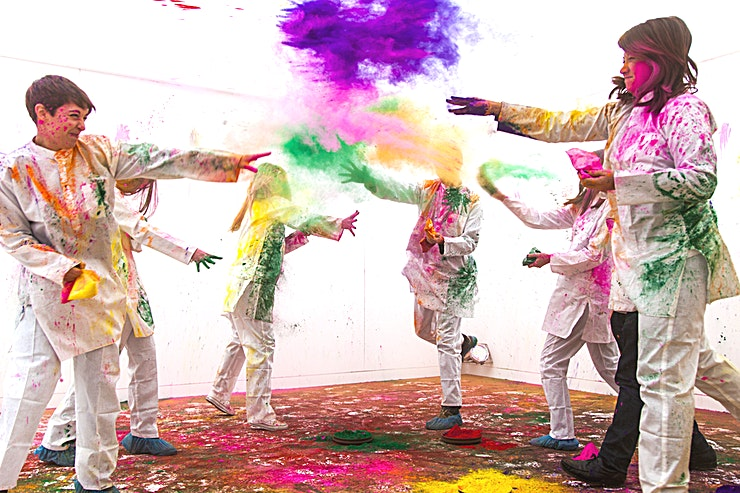 The Lower Terrace - Holi in the City **Leave the dull, grey City at the door, don your protective white suit, and step into the madness at the House of Holi, for thirty minutes of paint-pelting friends, family and colleagues!**