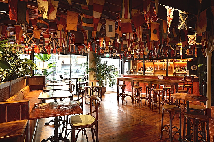 Whole venue **Mrs Fogg's is located in the heart of the City and is inspired by Mr Fogg's better half – his Indian wife, Aouda.**   The Dockside Drinkery is a Space where weary sailors or thirsty patrons can do