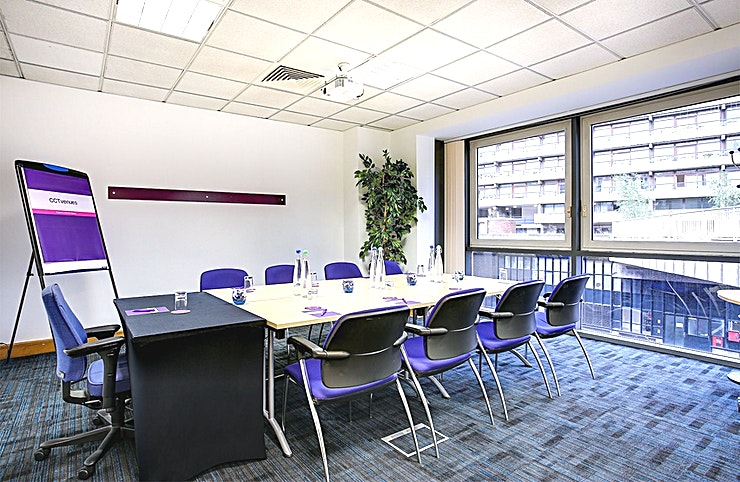 Eris Recently refurbished, CCT Venues-Barbican offers a professional environment in a superbly convenient City location. The venue occupies the whole of Aldersgate House, on the corner of Aldersgate Street and Long Lane, in London EC1. The 22 training and meeting rooms are arranged over five floors and offer a range of bright, airy Spaces, with large windows and individually controlled air conditioning.  CCT Venues-Barbican has a great mix of room sizes, with capacity for groups of 4 to 150. The venue has a strong reputation for superb service and expert management of training events. In addition to great rooms, the venue also has a modern top floor Sun Restaurant, with capacity for over 140 and offering a range of freshly prepared food from our in-house chefs. All other floors have refreshment areas with tea and coffee facilities.  All rooms are well equipped with modern furniture, quality audiovisual equipment and powerful data links. Events are supported by our first class, highly experienced team who put warm, professional service central to everything.   You'll find the venue directly next to Barbican underground station and only a few minutes' walk from CCT Venues-Smithfield. City Thameslink mainline, Farringdon, St Paul's and Moorgate tube stations are also just a short walk away.   CCT Venues also have locations in Canary Wharf, offering great choice across London's busiest business districts.