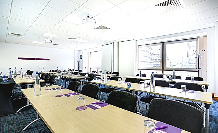 Apollo 2 & 3  Recently refurbished, CCT Venues-Barbican offers a professional environment in a superbly convenient City location. The venue occupies the whole of Aldersgate House, on the corner of Aldersgate Street and Long Lane, in London EC1. The 22 training and meeting rooms are arranged over five floors and offer a range of bright, airy Spaces, with large windows and individually controlled air conditioning.  CCT Venues-Barbican has a great mix of room sizes, with capacity for groups of 4 to 150. The venue has a strong reputation for superb service and expert management of training events. In addition to great rooms, the venue also has a modern top floor Sun Restaurant, with capacity for over 140 and offering a range of freshly prepared food from our in-house chefs. All other floors have refreshment areas with tea and coffee facilities.  All rooms are well equipped with modern furniture, quality audiovisual equipment and powerful data links. Events are supported by our first class, highly experienced team who put warm, professional service central to everything.   You'll find the venue directly next to Barbican underground station and only a few minutes' walk from CCT Venues-Smithfield. City Thameslink mainline, Farringdon, St Paul's and Moorgate tube stations are also just a short walk away.   CCT Venues also have locations in Canary Wharf, offering great choice across London's busiest business districts.