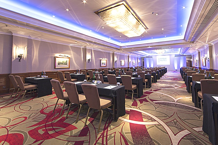 Park Lane Our ballroom, Park Lane, is a spacious and naturally lit room with a built-in stage. Its high ceilings make it a popular choice for exhibitions and the room can comfortable hold up to 250 people in a