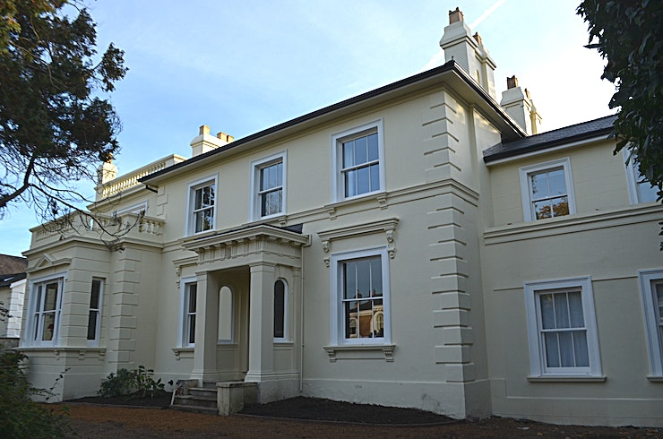 Large Victorian house for film/advertising shoots The Hermitage was built in 1850 probably for the landowner Robert Kent and is one of the original houses in East Molesey next to Hampton Court Palace. This 5,000 sq ft house has recently been renovate