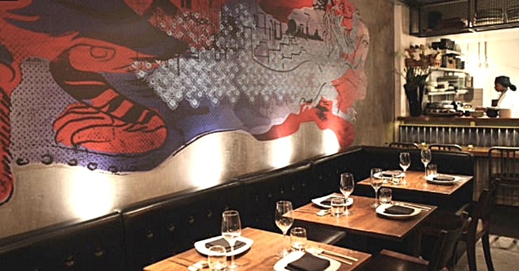"Downstairs Private Room, Evening Hire JINJUU, meaning ""PEARL"", is London's premier modern Korean food restaurant with celebrity chef, Judy Joo, at the helm.