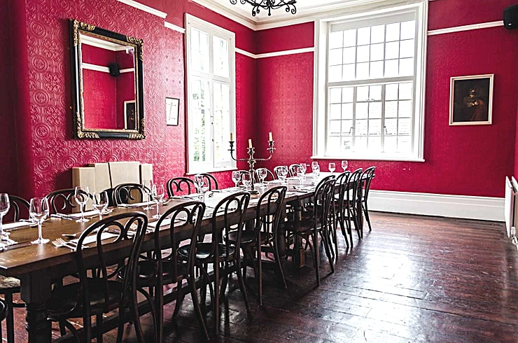 Private Dining Room, Evening Hire Seating up to 22 people, or 35 standing, this room is perfect for more intimate experiences.  Choose from our feasting menus or a 3 course a la carte menu.  With a number of traditional old world wi