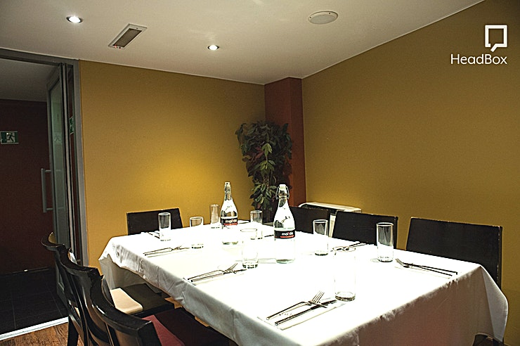 Private Dining Room  **Hire the Private Dining Room at Maida London for a private dining event with an Indian twist!**   Maida London is home to one of the best private dining rooms London has to offer in Blackburn. This private dining room comes fully equipped with i Pod docking station and Wi-Fi access in a dining room that can accommodate anything from 8 to 30 guests! So you can really get this party started in a unique dining room that also has individually climate control.   This private dining room at Maida London is the perfect space to take your clients for dinner or to celebrate with your team in a top London Private Dining Room.