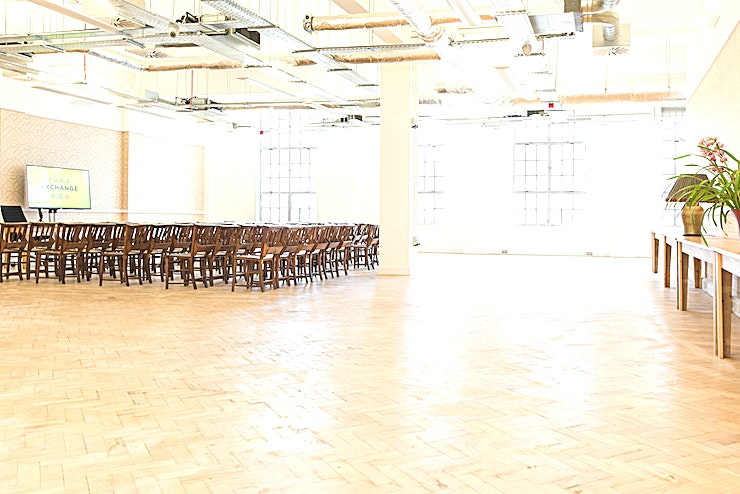 Moonchu Hall China Exchange is an exceptional venue in the centre of London's Chinatown. We are based in the iconic former BT Telephone Exchange in Gerrard Street, only minutes from Piccadilly Circus and Leicester Square.  As well as offering our dynamic programme of charitable activities, we have two stunning floors of light, airy and versatile space available for hire.  The Moonchu Hall on the 2nd floor is an open plan space profiting from high ceilings and the generous provision of natural light from four tall windows overlooking Chinatown. Suited for workshops, lectures, conferences and exhibitions.