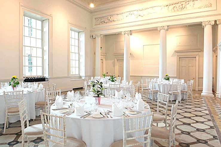 Adam Hall Our largest space which can be hired all year round.Named for the Georgian architect who re-styled the mansion in the 1760s, the Adam Hall is one of Compton Verney's most prominent spaces, with undeniable grandeur. High ceilings, large windows and exquisite marble flooring create a light and open setting, making this a fantastic room for large-scale presentations, dinners and formal conferences.