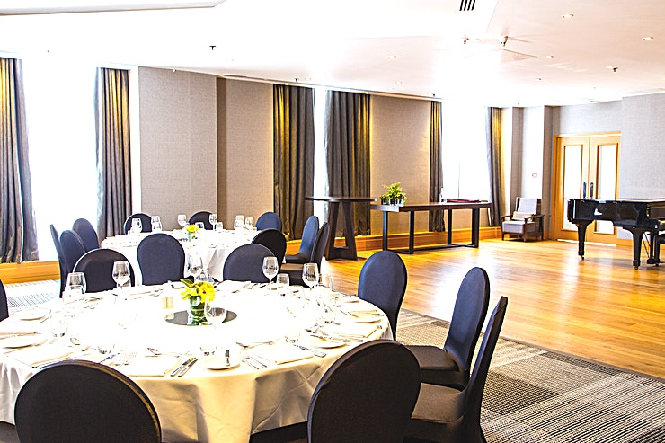 Sonata **The Sonata room at the Hyatt Regency is an ideal venue for hire offering one of the best options for private dining Birmingham has to offer.**   Located on Broad Street, and in the very heart of Birmingham, the Hotel is widely accessible by foot, bus, car and train. The Sonata Suite provides 144 square metres of state-of-the-art space for both business and pleasure and is ideal for business conferences, banquets and elaborate weddings. The maximum capacity of the Sonata Room is 100 people theatre style.  The room is adaptable for a wide variety of events, from gala dinners to wedding receptions or elegant product launches. It is located on the ground floor of the hotel and is accessible through the lobby area. The Sonata Suite is self-contained and has its own private bathroom facilities. The entrance area of the room provides the ideal setting for pre-dinner drinks and cocktails.  Our conference and banqueting team is there to help plan and assist you with your event, as well as to ensure everything run smoothly so that you can make the most of your day, please instant message for any more info.  Hyatt Regency Birmingham also offers a great, flexible catering service in which its Chefs work closely with the Event team to surpass the guests' expectations.