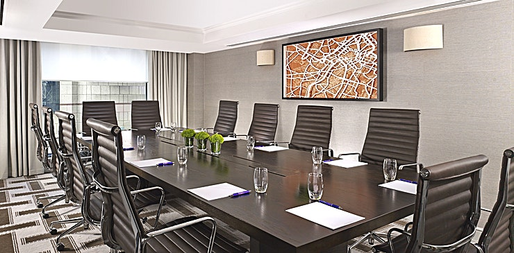 Boardroom **Hire the Boardroom at Hyatt Regency Birmingham  for one of the best options for meeting room hire Birmingham has to offer.**   Located on Broad Street, and in the very heart of Birmingham, the Hotel is widely accessible by foot, bus, car and train. The Boardroom has been built to suit the needs of today's executives. With an eye-catching boardroom table and comfortable leather chairs it's ideal for high level executive meetings for up-to 12 people.  To celebrate its 25th anniversary in 2015, the Hotel benefitted from a £6m refurbishment and continues to offer a unique luxury hotel experience. One of the most popular business hotels in the city, Hyatt Regency Birmingham is an ideal venue for meetings and conferences. The 4 star hotel features meeting and event rooms that offer different ambiances, great value meeting packages and personalized catering services.  Our conference and banqueting team is there to help plan and assist you with your event, as well as to ensure everything run smoothly so that you can make the most of your day, please instant message for any more info.  Hyatt Regency Birmingham also offers a great, flexible catering service in which its Chefs work closely with the Event team to surpass the guests' expectations.