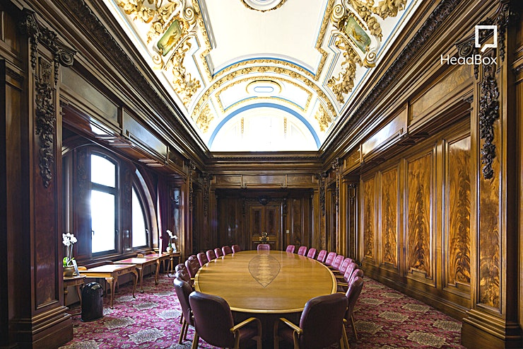 Executive Boardroom **Hire the Executive Boardroom at The Venue at the Royal Liver Building for one of the best meeting rooms Liverpool has to offer**  This impressive wood panelled room maintains all its original feat