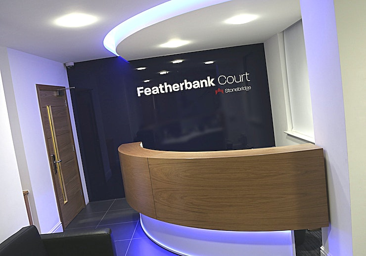 Featherbank Court, Leeds We have created an environment which gives your business the very best opportunity to succeed whilst minimising your risk. Our beautifully designed offices are amongst the finest on offer in Yorkshire. Located between Leeds and Bradford and only a short drive to Leeds Bradford Airport this beautiful Business Centre is easily accessible.
