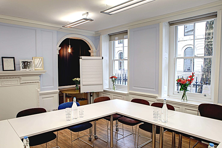 Prufrock Meeting Room Prufrock is a bright, clean space within the headquarters of Faber & Faber, one of the country's leading literary publishers. Professional and flexible, and with breakout space available, Prufrock meeting room is perfect for meetings, training sessions and away days. The tasteful decoration meets with the Heritage requirements for a grade-II listed building such as this one, providing a unique atmosphere for your event.