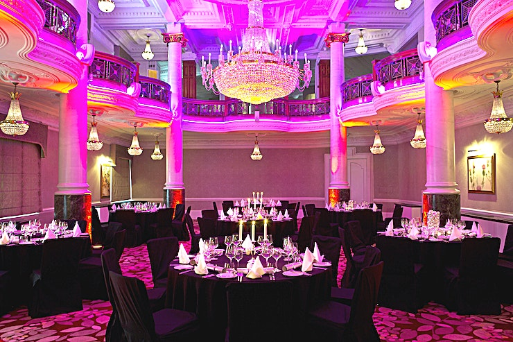 The Crystal Ballroom Originally designed by theatre designer JB Briggs, the sense of drama is apparent as you step into this magnificent Ballroom. Abundant with original features and its eponymous crystal chandelier, this venue is an inspirational setting for a conference.