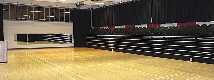 Theatre Large open space suitable for various group activities, dance, performances, and much more. With tiered seating and performance area. One off bookings for practice, shows or more.  Great learning environment for performing arts.