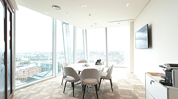 Meeting Room 6 **Hire Meeting Room 6 at The Shard for one of The Office Groups top options for meeting room hire in London.**   Hire one of the best meeting rooms London has to offer in the iconic building of The Shard. The highest office floors avaliable are onlevels 24 and 25 which will give you one of a kind views overlooking London in this unique meeting room hire.   These meeting room hires are found in a building that's also equipped with offices, co-working space, a lounge, event space and meeting rooms.