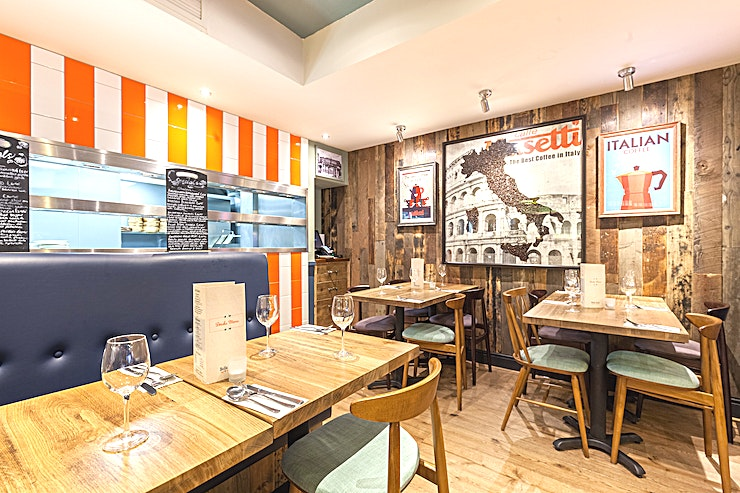 Bella Italia 108/110 Queensway For those smaller meetings & team outings, our bright and colourful Regina Cove, slightly tucked away from the main restaurant is the perfect spot!