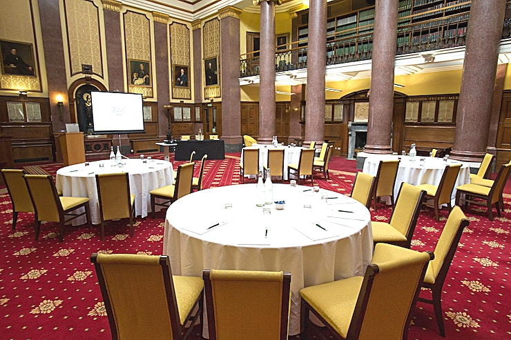 Reading Room **Corporate Events in London will never be the same again after you've hosted one in the Reading Room at 113 Chancery Lane perfect for meeting room hire and conference venue hire in London.**  The Law Society is an ideal venue for a all types of corporate events, including meetings, conferences, training days, seminars, lunches and grand dinners. We can accommodate almost any size and style of event and we are always happy to work with you to find your perfect solution. Breakout spaces are available and we will help you find the perfect catering match for your event. Our venue and staff are welcoming and accommodating, offering a relaxed but professional environment. Your event can be as formal or informal as you wish. Your dedicated event specialist will be able to help you every step of the way. They will help you to organise an occasion that works for you and matches your specifications, ensuring that you are able to get the most out of your event. They will ensure that your meeting, seminar or conference runs seamlessly and that your every expectation is exceeded.  The Law Society is a believer in sustainability, with strong CSR credentials, and we support equality in everything we do.