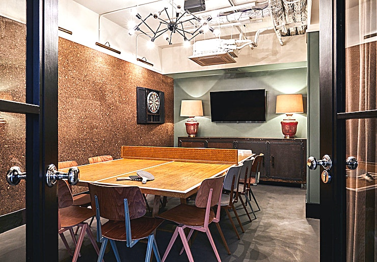 The Den **Hire The Den at The Hoxton Shoreditch, a fancy Space due to it's interior design and one of the best meeting rooms London has to offer.**  Think more 50 Shades of Grey than your childhood hang out