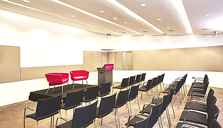 Wolfson Conference & Exhibition Space **For an event Space at a beautiful London location, hire the Wolfson Conference & Exhibition Space at 41 Portland Place**  The Wolfson Conference & Exhibition Space is a purpose-built, modern, soundproof suite with adjustable lighting and air-conditioning.   Utilise this event Space for a screening room of up to 50 Guests or a conference for up to 70 Guests.  Alternatively, use the incredible creativity of this Space as a backdrop for a group workshop for up to 40 Guests.   With video conferencing facilities available, the Wolfson Conference & Exhibition Space has everything you'll need for any manner of corporate event.   The Exhibition Area is included within the hire of the Wolfson Suite. This provides a separate Space for break out groups or a catering space for day conferences.  Versatile and effective, this event Space has everything you'll need for an exhibition, reception or conference.