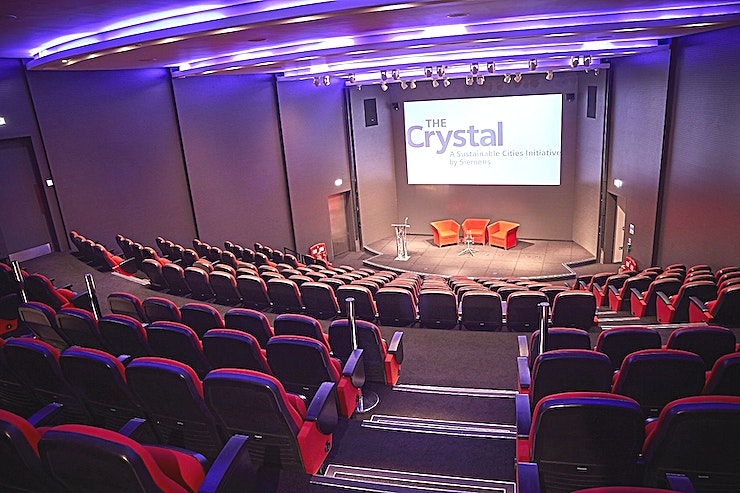 Auditorium **Want one of the best options for conference venues London has to offer? Welcome to the Auditorium at The Crystal!**  Welcome to the Crystal, a sustainable cities initiative by Siemens. The Crystal in London is home to the world's largest exhibition on the future of cities, as well as one of the world's most sustainable buildings and events venues. Whether you're hosting a networking event, conference or workshop the Auditorium has everything you need for a flawless event, that's bound to impress your Guest list.   --PLEASE NOTE THIS IS A DRY HIRE FEE--