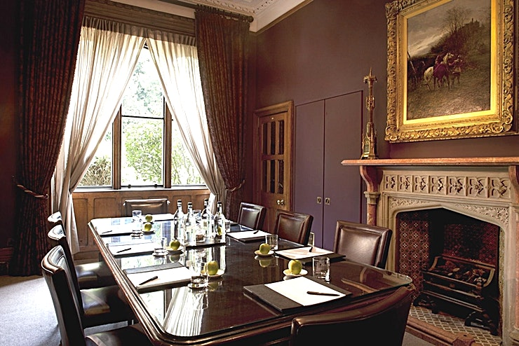 Study **Hire the Study at Nutfield Priory Hotel & Spa - for small meeting room hire in Surrey!**   The Study at Nutfield Priory Hotel & Spa is well suited to smaller board meetings and intimate dinners, t