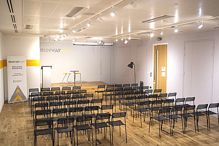 The Engine **Need a small conference venue to hire in East London? Welcome to the Engine room at Runway East**   'The Engine' is the main event space at Runway East.   It's perfect for conferences and events. This London venue can accommodate a networking event for up to 200 standing guests. Including a staging area for entertainment.   The room is a popular event Space in East London. It's held dinners, product launches and parties, to name a few events. Not to mention its central location in Moorgate is perfect for Guests.  Whether you are looking for a dry hire Space or catering, the team at Runway East Moorgate can help make sure your event has everything it needs.