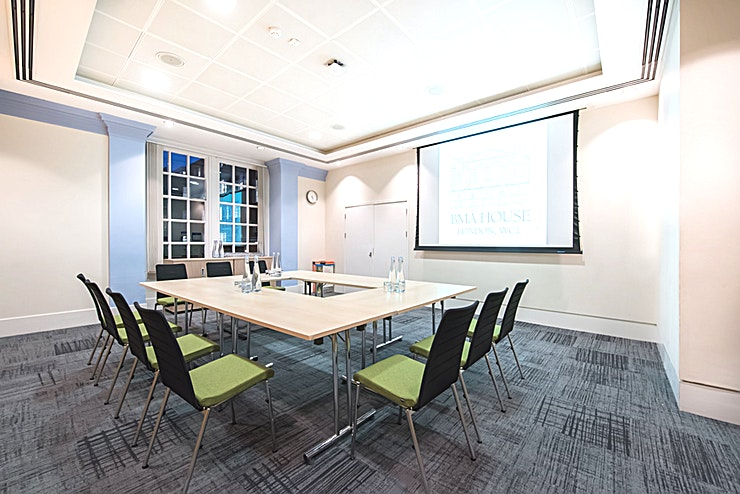 Anderson Room **BMA House – modern events with heritage, placing sustainability at the heart of everything.**   A beautifully bright and spacious Grade II listed building designed in 1911, the magnificent venue boasts 22 unique and versatile Spaces including 11 purpose-built meeting rooms, all fitted with cutting edge AV technology.  A strong balance between the old and new is at the heart of their offering. New technology, new thinking on nutrition and new ideas about how an event Space can be merged with real heritage and a proven track record to create the story of BMA House today.  From small meeting rooms to full conferencing Spaces for up to 320, it is a favourite for Conferences, Meetings, AGMs, Charity Dinners, Award Ceremonies, Product Launches and Exhibitions.  BMA House is incredibly passionate about food. Healthy meetings being the ethos with delegates' wellbeing at the forefront of all menus, their talented chefs have created mindfully nutritious menus which focus on sustaining concentration and nourishing delegates with wholesome food. They are also fully stocked on ideas for any event or individual requiring vegan or vegetarian dishes.   To support wellbeing and work-life balance, visit the Mindful Garden; a peaceful haven which can be accessed all year round, plus the large Courtyard, which provides a breath of fresh air to unwind in between breaks.  Located in the heart of Bloomsbury just a stone's throw away from mainline stations Euston, Kings Cross and Russell Square tube, the superb location suits both national and international conferences.
